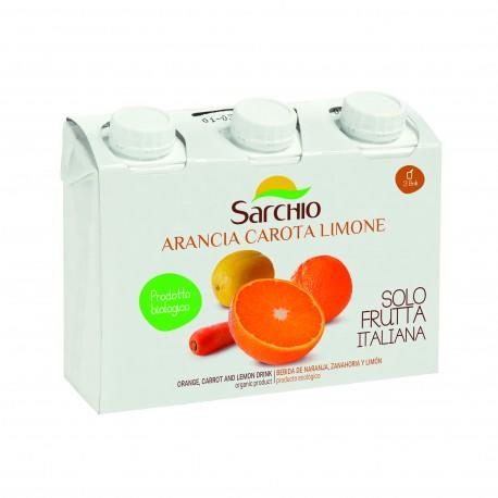"""Suc ECO BIO cu portocala, morcov si lamaie, 3x200ml - Sarchio """"Arancia Carota Limone"""" - Deco Italia"""