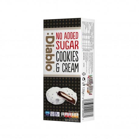 Biscuiti bruni cu crema de lapte si glazura alba, fara adaos de zahar, Diablo 128g - Deco Italia