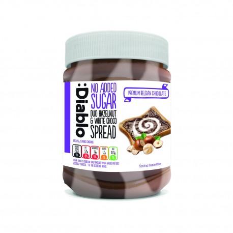 Crema tartinabila bicolora cu alune de padure si ciocolata alba belgiana, fara zahar, Diablo 350g - Deco Italia