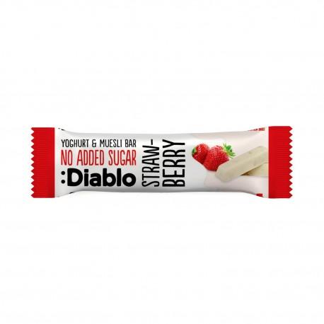 Baton musli cu aroma de capsuni si glazura de iaurt, fara adaos de zahar, cu indulcitori, Diablo 30g - Deco Italia