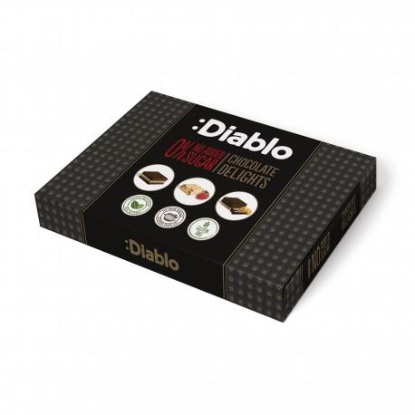 Cutie cu 3 sortimente de ciocolata Diablo, fara zahar, cu stevia, 115g - Deco Italia