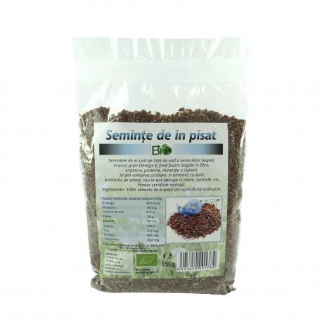 Seminte de in pisate bio 150 g