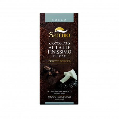Ciocolata BIO fara gluten, extra fina cu lapte si nuca de cocos, 80g - Sarchio - Deco Italia
