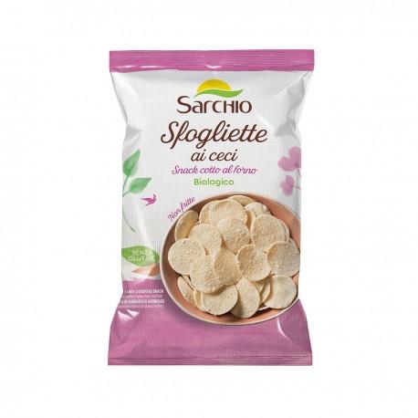 """Snack fara gluten, BIO, cu naut, copt la cuptor, 50g """"Sfogliette ai ceci"""" Sarchio"""
