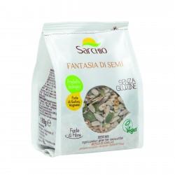 Seminte mixte fara gluten, BIO ECO, floarea soarelui, dovleac, susan, in auriu, 180g - Sarchio