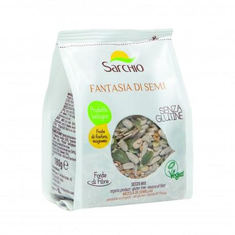 Seminte mixte fara gluten, BIO ECO, floarea soarelui, dovleac, susan si in auriu, 180g - Sarchio - Deco Italia